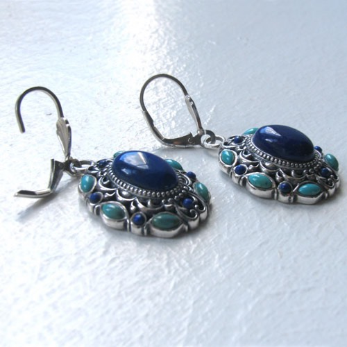 Lapis Lazuli and Turquoise Earrings Cathy