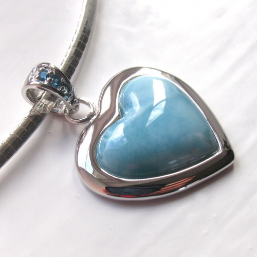 Larimar Heart Pendant Sterling Silver Chains