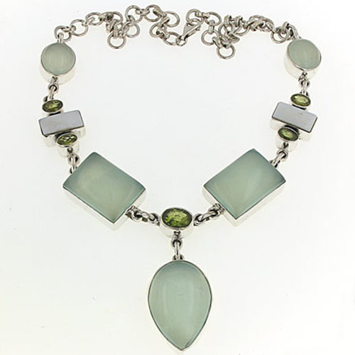 Aqua Chalcedony, Peridot and Pearl Necklace Olivia