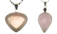 Rose Quartz and Sterling Silver Pendants