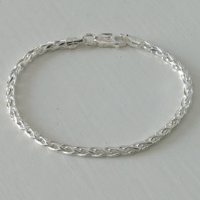 Sterling Silver Diamond Cut Wheat Bracelet, Width 3.5mm