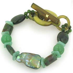 Pearl, Aventurine, Prehenite and Aquamarine Bracelet Helen