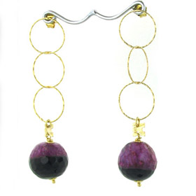 Black and Fuchsia Agate Earrings April