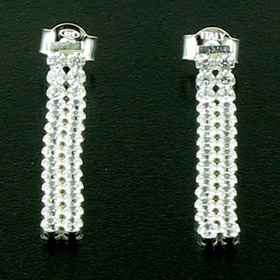White Cubic Zirconia and Sterling Silver Earrings Sherry