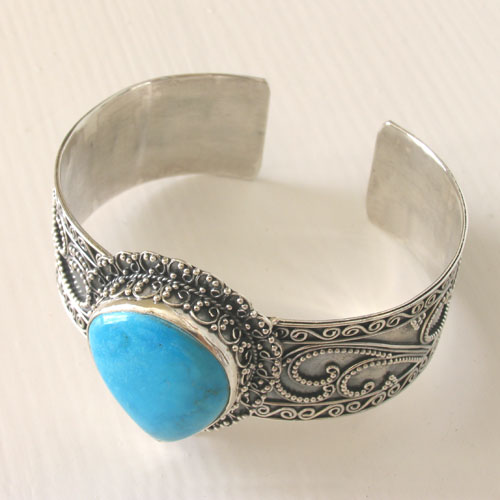 Sterling Silver Turquoise Cuff Bangle Jacinta
