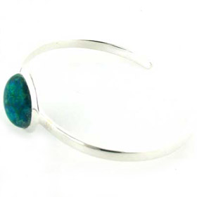Chrysocolla Silver Bangle Emilia