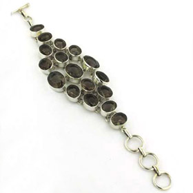 Smokey Quartz and Sterling Silver Statement Bracelet Brigitte