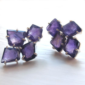 Amethyst Cluster Earrings Amelie