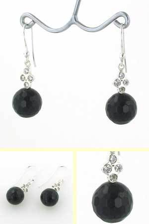 Black Onyx Bead Earrings Clara