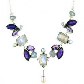 Rainbow Moonstone, Amethyst and Pearl Necklace Francesca