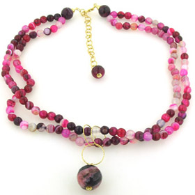 Fuchsia Agate Necklace Millie