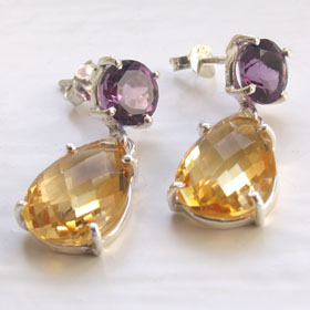 Citrine and Amethyst Earrings Marie