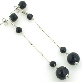 Long Black Onyx Earrings Gemma