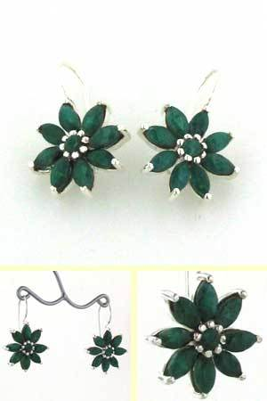 Emerald Flower Earrings Lilly