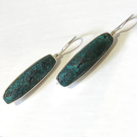 Checker Cut Turquoise Earrings Elkie
