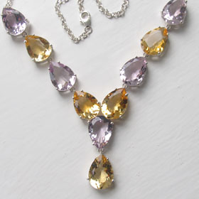 Amethyst and Citrine Necklace Bethany