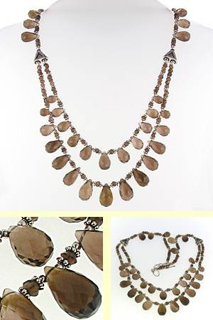 Smokey Quartz Bead Necklace Lisette