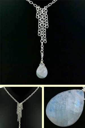 Rainbow Moonstone Pendant Necklace Dee