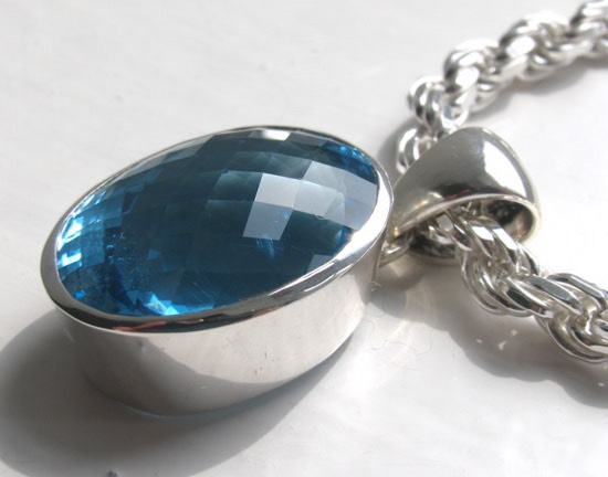 35 Carat Blue Topaz Pendant Ashley