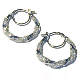 Crystal Mesh and Sterling Silver Earrings