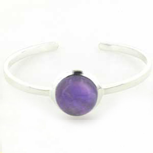 Amethyst and Sterling Silver Bangle Emilia