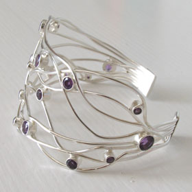 Sterling Silver Amethyst Cuff Giselle