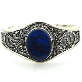 Lapis Lazuli and Sterling Silver Cuff Bracelet Evelyn