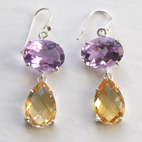 Citrine and Amethyst Earrings Celine