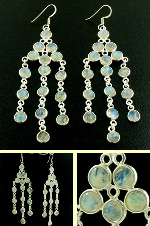 Rainbow Moonstone Earrings Liz