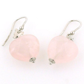 Rose Quartz Heart Earrings Chiara