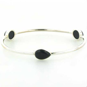 Black Onyx Silver Bangle Annabel