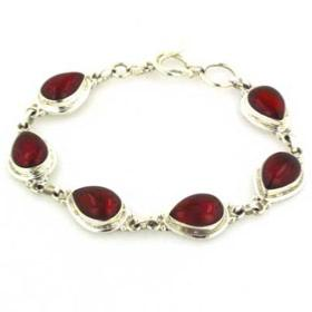Red Onyx and Sterling Silver Bracelet Amber