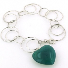 Sterling Silver Link Bracelet with Green Agate Heart