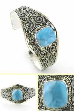 Larimar and Sterling Silver Cuff Bracelet Felicity