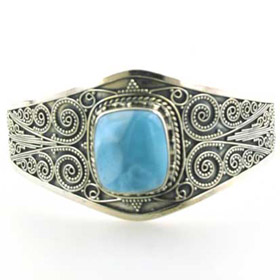 Larimar and Sterling Silver Cuff Bracelet Antoine