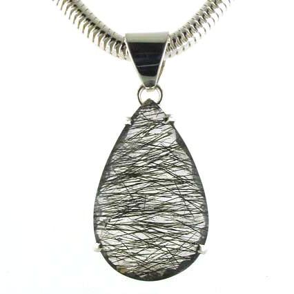 Large Faceted Black Rutilated Quartz Pendant Sian