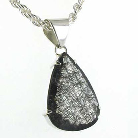Large Faceted Black Rutilated Quartz Pendant Dawn
