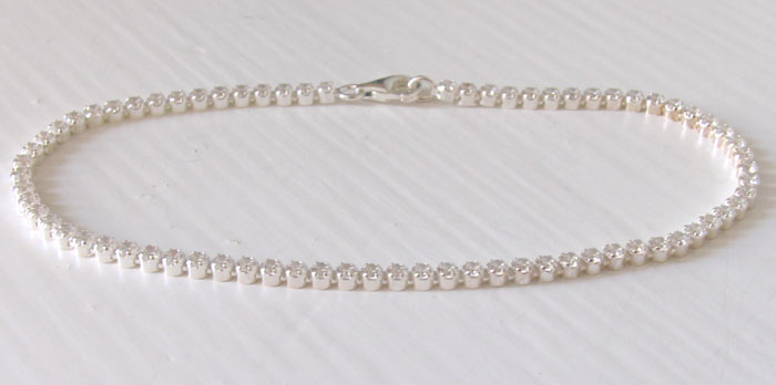 White Cubic Zirconia and Sterling Silver Tennis Bracelet