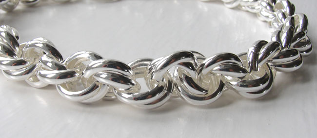 Sterling Silver Chunky Links Necklace, Width 15mm
