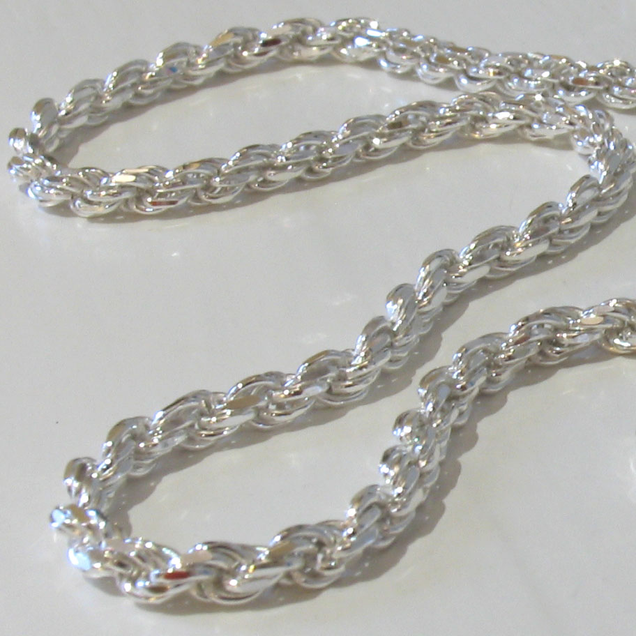 Sterling Silver Diamond Cut Rope Chain - 4mm