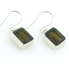 Smokey Quartz Silver Earrings - Boothandbooth.co.uk