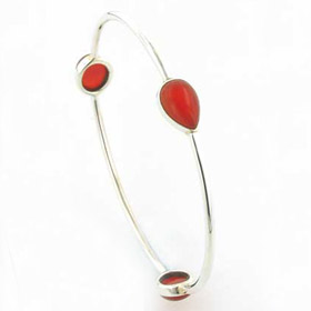 Red Onyx and Sterling Silver Bangle Annabel