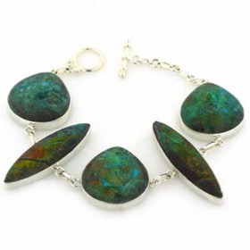Chrysocolla and Sterling Silver Bracelet Sasha