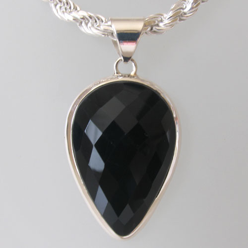 Faceted Black Onyx Pendant Deena