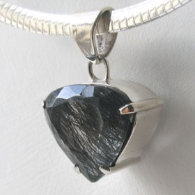 Faceted Black Rutilated Quartz Pendant Saskia