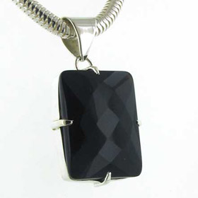 Faceted Black Onyx Pendant Hazel