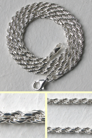 Sterling Silver Diamond Cut Rope Chain - 2.25mm