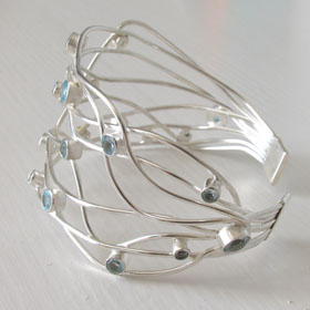 Sterling Silver Blue Topaz Cuff Giselle