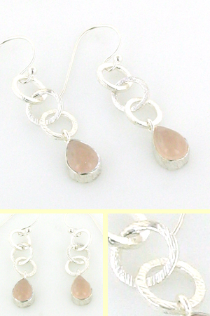 Rose Quartz Earrings Cherry