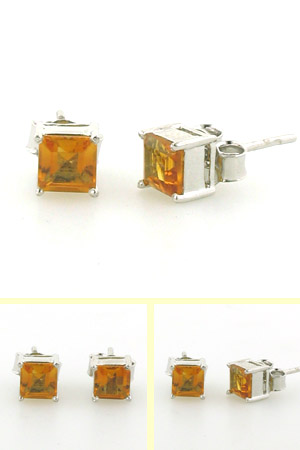 Citrine Square Stud Earrings Cliona